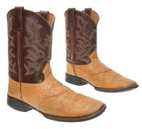 JUSTIN Cowboy Boots 3.5 D Kids/Youth WESTERN Leather Square Toe Roper Boots