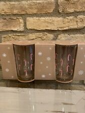 New Pottery Barn Candy Cane Christmas Glasses Set Of 4