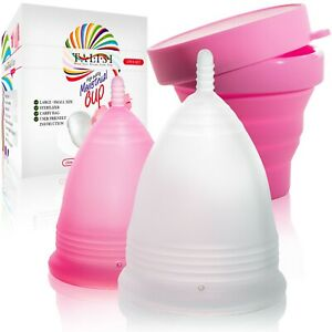 Talisi Menstrual Cup Large Small Set and Silicone Foldable Sterilizer Period Cup