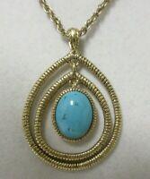 Vintage Gold Tone Faux Turquoise Monet Pendant Necklace