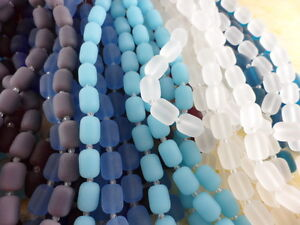 2 Strands Sea Glass (26 beads) 13mm Barrel Beads You Pick Color