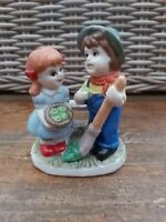 Vintage Little Girl & Boy - Basket of Apples Ceramic Figure Ornament - Children