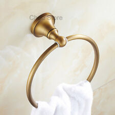 Wall Mount Towel Ring Rack Hanger Antique Brass Round Bathroom Washcloth Holder
