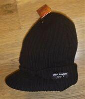 Peaked Beanie Hat Mens Womens Winter Warm Thermal Insulated Short Peak Cap