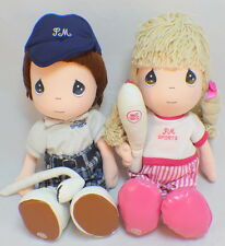 "Precious Moments Sports Athletics Dolls Baseball & Golf Boy and Girl 14"" set"