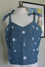 NWT JCREW  Embellished Tie Shoulder Tank Top Denim Blue White Beads SIze 16