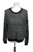 Ecote UO Womens Size S Open Knit Wool Mohair Blend Pullover Sweater Black Gray