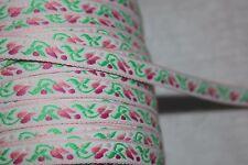 "$1 yard White Hot Baby Pink Mint Green jacquard woven sewing ribbon Trim 1/2"" rl"