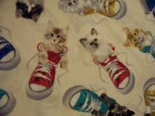 CATS TENNIS SHOES KITTIES IN SHOES CREAM COTTON FABRIC BTHY OOP