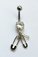 CUTE SAFTEY PIN BABY THEMED CLEAR CRYSTAL GEM NAVEL BELLY BAR - BB01