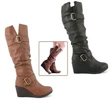 LADIES WOMENS KNEE HIGH FAUX LEATHER WEDGE PLATFORM FLEECE WARM BOOTS SHOES SIZE