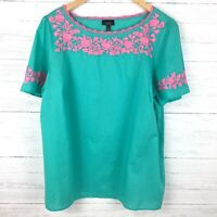 Talbots Women's Green and Pink Embroidered Tunic Top Short Sleeve Lightweight 1X