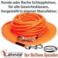 BioThane® Schleppleine für ALLE Hundegrößen, flach rund Edelstahl Handschlaufe