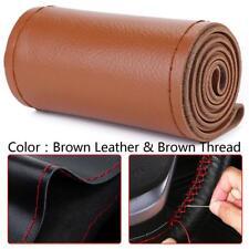 Universal DIY Brown Genuine Leather Car Steering Wheel Cover Case Needles&Thread