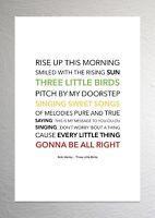 Bob Marley (Rasta Colours) - Three Little Birds - Colour Print Poster Art
