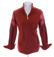NWT Bob Mackie Wearable Art Embroidered Fleece Full Zip Up Jacket Red Women Sz S