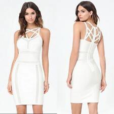 NWT bebe white mesh inset cage straps bandage cutout bodycon top dress M medium