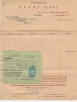1954 W.D. & H.O. Wills Branch of Imperail Tobacco Co. Stamp Receipt Ref 32741