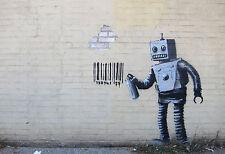 Framed Print - Banksy Street Art Robot Spray-Painting a Barcode (Graffiti Poster