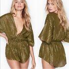 70 NEW Victoria's Secret Shine Stripe Romper Olive Shimmer COVER UP Shorts XS