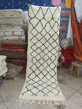 Vintage Handmade Rug Moroccan BENI OURAIN Rug Berber Carpet Wool Rug