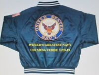 USS MESA VERDE  LPD-19   NAVY ANCHOR EMBROIDERED 2-SIDED SATIN JACKET