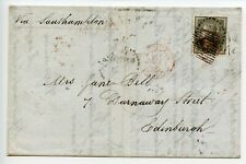 INDIA 1858 QV 4a black/entire - to Edinburgh - FORWARDED BY/ FORBES/ BOMBAY