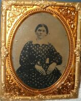 1/9th size Tintype of a young lady in a Brass frame