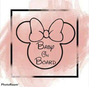 BABY ON BOARD Baby Warning Cut Vinyl Decal 12 cm x 12 cm Disney baby on board