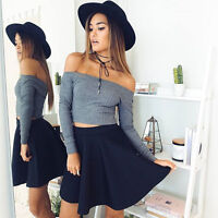 Womens Ribbed Off Shoulder Tops Long Sleeve Slim Stretch Crop Top T-shirt Blouse