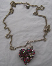 Glass Heart Necklace Nwot Betsey Johnson Bejeweled