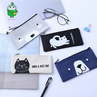 Cute Cartoon Pencil Case Bear Cat Pen Box Bag Student Stationery Makeup Storage