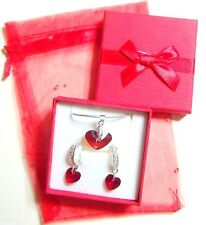 Red Heart Necklace & Earrings Made with Swarovski Crystals Romantic Gift Boxed