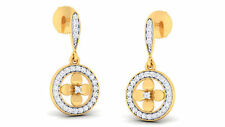Pave 0.49 Cts Natural Diamonds Stud Earrings In Solid Certified 14K Yellow Gold