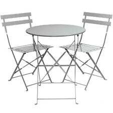 east2eden Grey Metal 2 Seater Patio Bistro Garden Chair Table Set