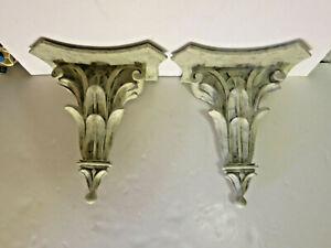 Classical Leaf Shelf Acanthus Decorative Wall Corbel Sconce Bracket Pair