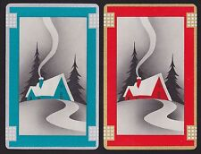 2 Single VINTAGE Swap/Playing Cards COTTAGES CHIMNEYS ID 'PINES SC-8-30'Aqua/Red