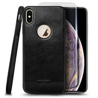 For iPhone XS Max Case, Shockproof PU Leather Cover + Tempered Glass Protector