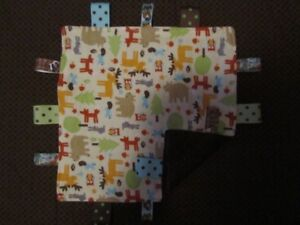Tan Woodland/Deer/Owl/Rabbit/Bear/Fox  Flannel/Minky Tag Ribbon Security Blanket