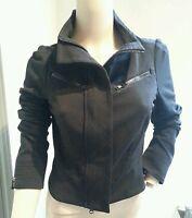 Diane Von Furstenberg Atlanta Black Motorcycle Style Zip Up Jacket S 4