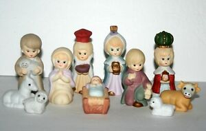 Kirkland's Children's Nativity Set Hand Painted Porcelain 11 Pcs Christmas Jesus