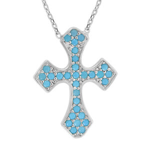 925 Sterling Silver Womens Round Cubic Zirconia CZ Blue Green Cross Cluster Fash