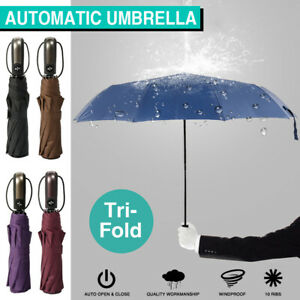 Portable Automatic Umbrella 10Ribs Compact Folding Umbrella Anti Rain Windproof