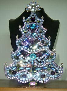 XL ART DECO VINTAGE RHINESTONE Christmas TREE XMASS STANDING *SIGNED* X433
