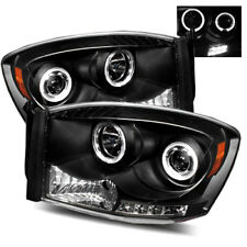 For 06-08 Dodge Ram 1500/06-09 2500/3500 Halo Projector Headlights Lamps Black
