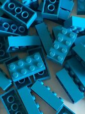 Lego 3001 New 2x4 Dark Azur Blue Bricks Blocks Buildings Wall Lot Of 25pcs