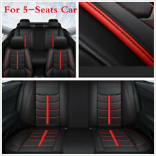 5 Seats Car Seat Cover Cushion Full Set Breathable PU Leather Black/Red Line