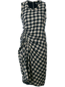 NWT James Perse Size 1 (Small) Spiral Shirred Sheath Checked Dress in SDFN $325