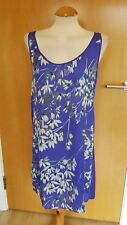 ladies BENETTON tunic dress blue grey floral size S 10 smart casual