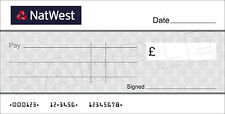Large BLANK NATWEST BANK Cheque for Charity / Presentation / Fundraising Event